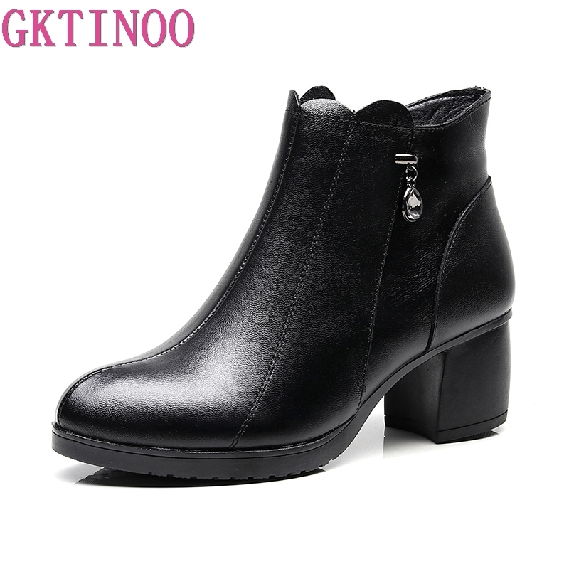 GKTINOO Women Ankle Boots Soft Genuine Leather Thick High Heels Shoes Platform Boots Winter Autumn Boots Warm Fur elegant handmade women boots flower high quality women shoes autumn and winter genuine leather thick heels platform ankle boots