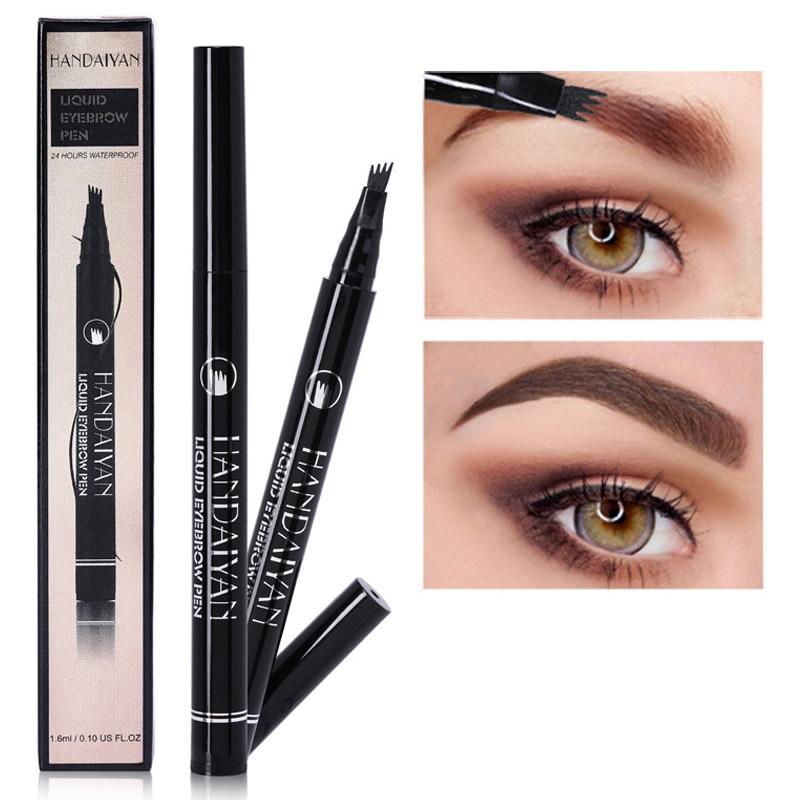HANDAIYAN Waterproof Micro Blade Eyebrow Pen Long Lasting Wenkbrauw Tattoo Liquid Brow Tint Makeup 4 Fork Brown Eyebrow Pencil