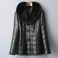 Spring Autumn Fox Fur Collar Sheepskin Coat Real Genuine Leather Jacket Women Clothes 2019 Korean Vintage Plus Size ZT2374