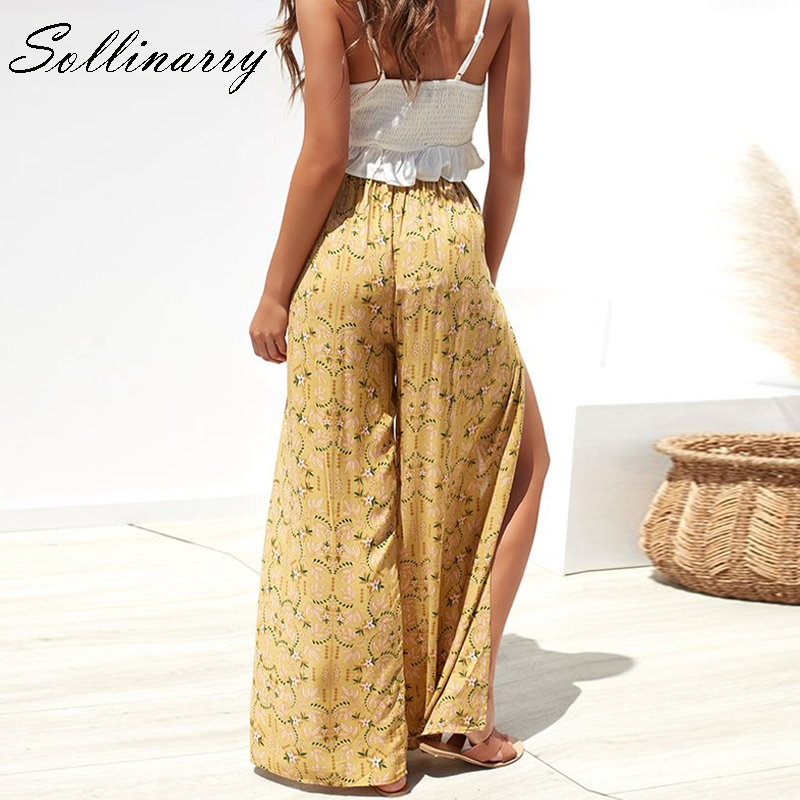 Sollinarry 2019 Casual High Waist Wide Leg Pants Women Beach Split Sexy Autumn Trousers Female Floral Printed Capris Winter in Pants amp Capris from Women 39 s Clothing