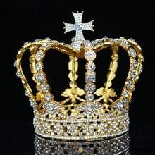 كريستال خمر الملكي الملكة الملك التيجان والتيجان الرجال/النساء مسابقة حفلة موسيقية الإكليل الشعر الحلي الزفاف مجوهرات اكسسوارات الشعر