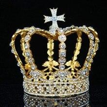 Diadèmes et couronnes en cristal Vintage reine royale, ornements de cheveux de bal, accessoires de bijouterie, hommes/femmes