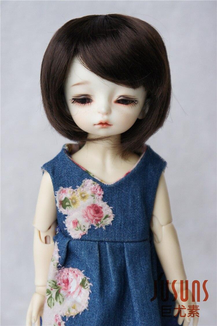 JD025 1/8 1/6 модный короткий парик BJD с челкой для размера 5-6 дюймов 6-7 дюймов кукла мягкий синтетический мохер кукла аксессуары - Цвет: 6-7inchCoffce SM7