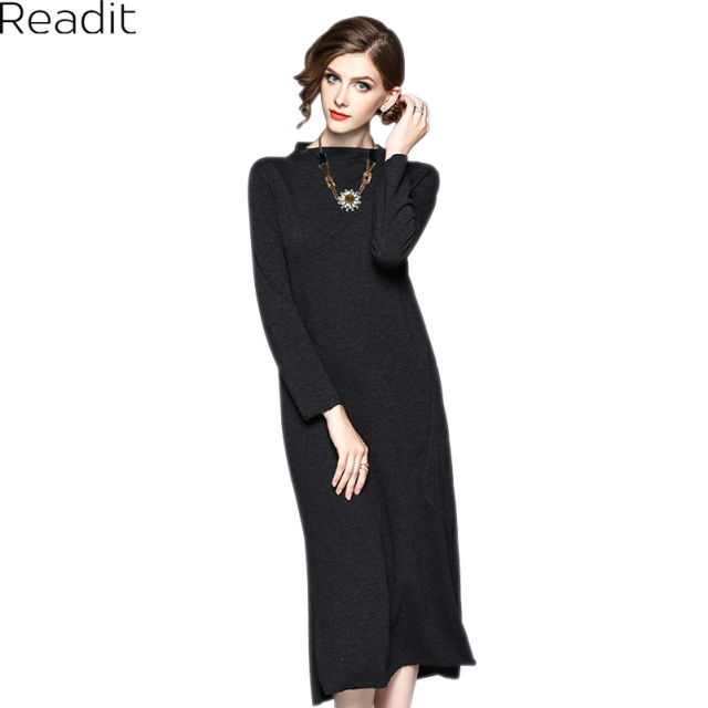 Readit Casual Dress 2017 Winter Dress Black Calf Length Dress Stand