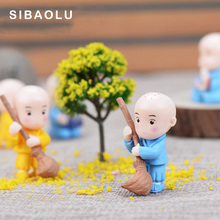 4pcs Monks Model Chinese Buddhist figurine cartoon character fairy garden home miniature ornament desk decoration DIY accessory