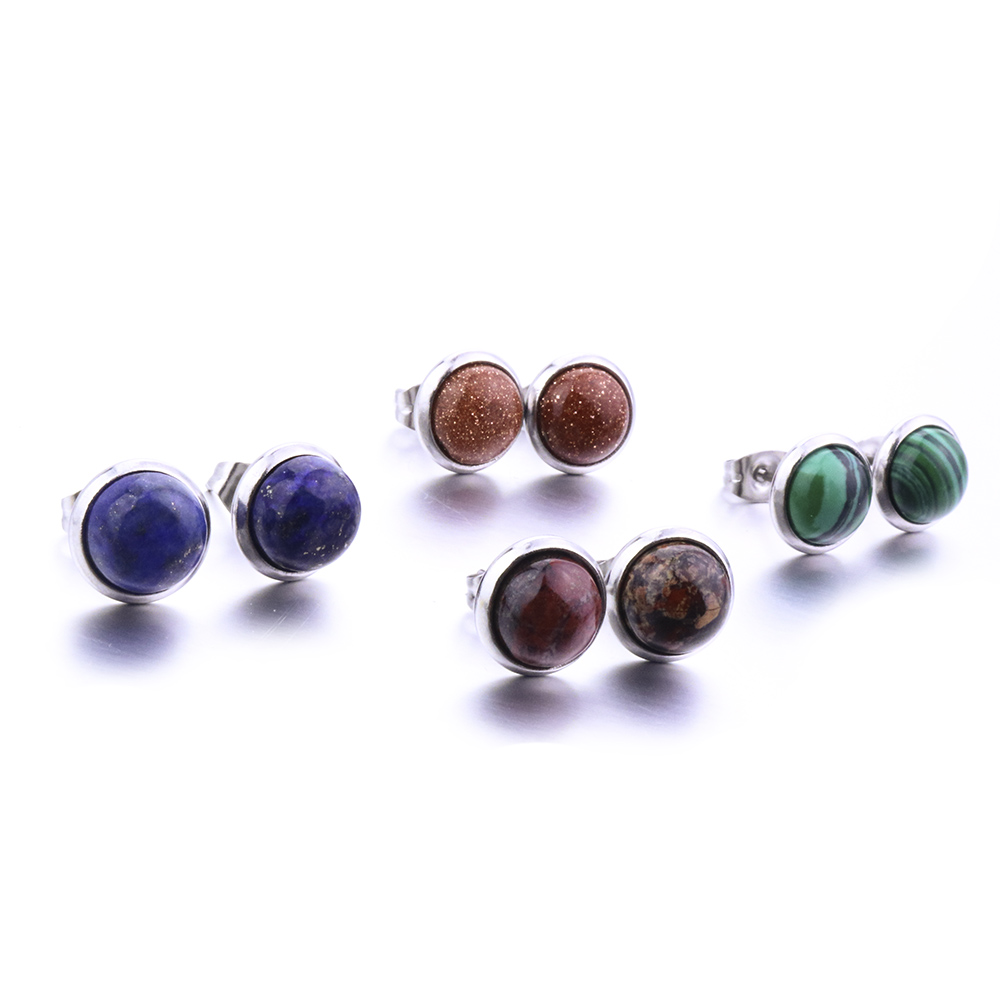 Fashion 8mm Stainless Steel Round Natural Stone Stud Earrings For Women Jewelry