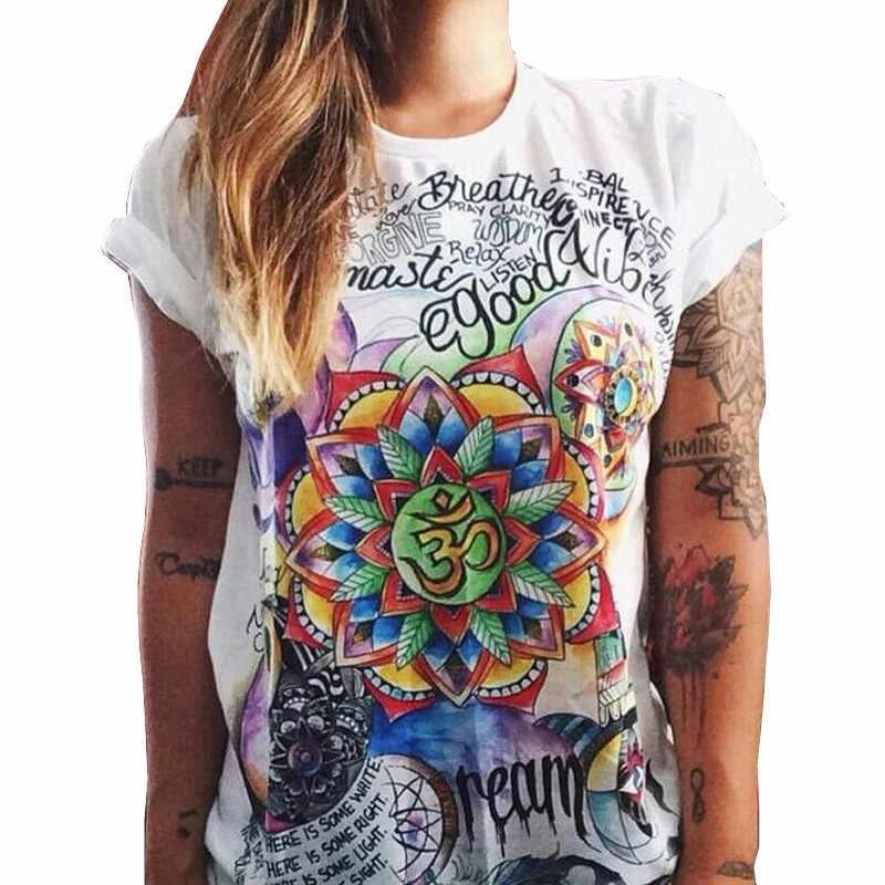 Nueva llegada 2018 camisetas blancas divertidas de verano para mujer, camisas de manga corta con cuello redondo, blusa elegante, Túnica Boho, Blusas de talla grande para mujer