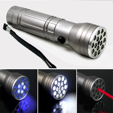 Cree 4500Lumens XM-L T6 3 Modes 16 LED 395 nm UV Ultraviolet Silver Flashlight 3AAA Laser Torch Lamp