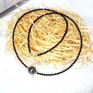 Image 3 - LiiJi ייחודי קולר שרשרת אמיתי שחור ספינל פיאות חרוזים מטהיטי שחור מעטפת פרל 925 כסף זהב צבע מתנה