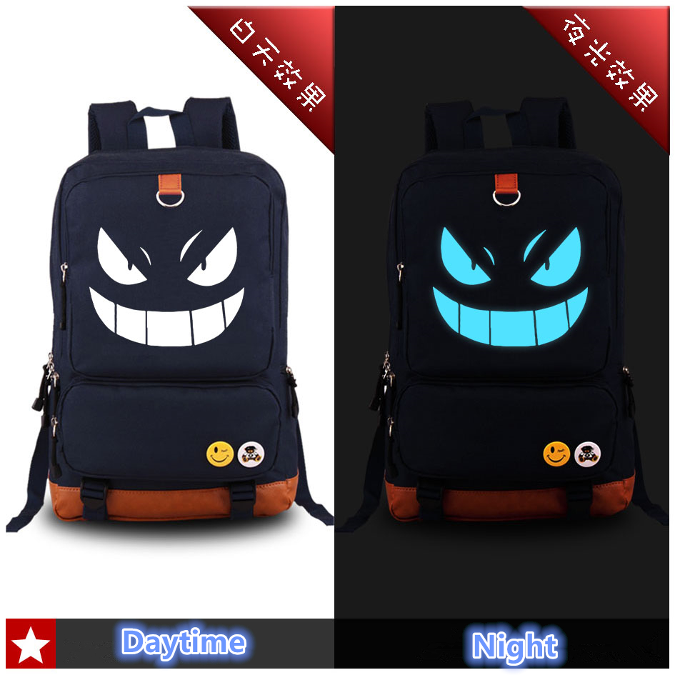 High Quality 2017 Pocket Monster Pokemon Kawaii Gengar Emoji Printing Canvas Backpack School Bags for Teenagers Laptop Backpack gc y09003l1