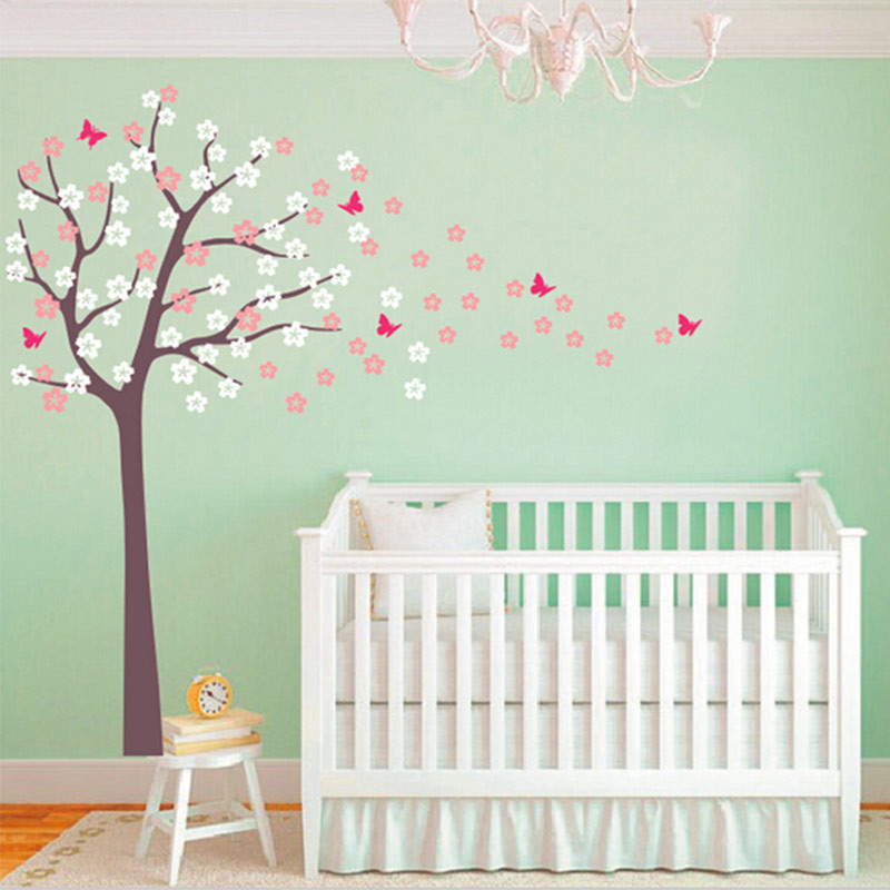 Huge Tree Blowing Cherry Blossom Wall Decals Nursery Tree Flowers Butterfly  Art Home Decor Stickers For Kids Rooms 230x178cm