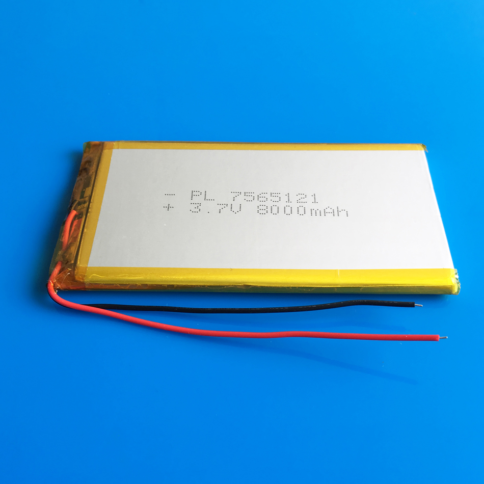 3.7V 8000mAh high capacity rechargeable battery 7565121 lipo polymer lithium li-ion battery for power bank tablet PC laptop PAD