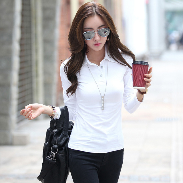 aa521956fb4 white shirts for women cotton shirt women button down tee plain black  blouse tops femme manga larga