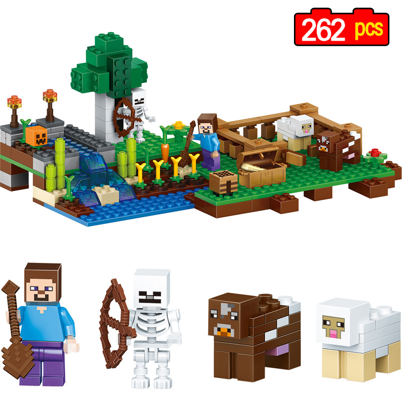262pcs Model Building Blocks for Toddlers My World Enlighten Action Figure Toys Compatible legoING Minecrafter Toys For Children 0367 sluban 678pcs city series international airport model building blocks enlighten figure toys for children compatible legoe