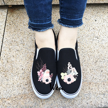 Wen Original Shoes Custom White Black 2 Colors Watercolor Bird Floral Flowers Slip On Canvas Sneakers Choose Unique Presents