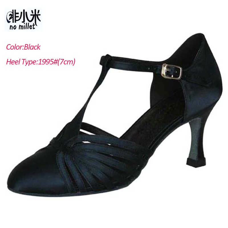 No Millet Ballroom Dancing Shoe Women Latin Shoes Black Tan silver Satin Latin Salsa Ballroom zapatos de baile latino mujer B013 цена