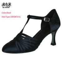 No Millet Ballroom Dancing Shoe Women Latin Shoes Black Tan silver Satin Latin Salsa Ballroom zapatos de baile latino mujer B013