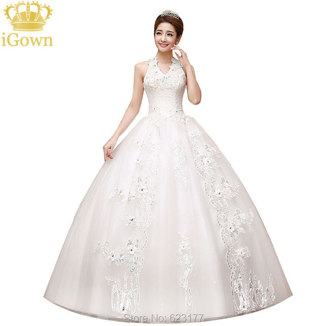 yayiku cristal de lujo vestido de novia de escote halter fuera del