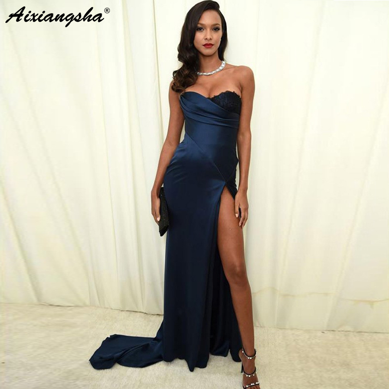 <font><b>Sexy</b></font> Navy Blue <font><b>Evening</b></font> <font><b>Dresses</b></font> <font><b>2018</b></font> Sweetheart High Slit Mermaid Satin Lace Elegant Formal <font><b>Evening</b></font> Gown Prom <font><b>Dresses</b></font> Long image