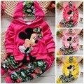 Bonito da criança define crianças primavera conjunto de veludo Minnie mouse bebê treino Hoodies + calças