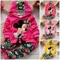 Linda muchacha del niño ropa conjuntos niños 2015 niños del resorte de la ropa del terciopelo Minnie mouse Baby Girls chándales sudaderas con capucha + pantalones