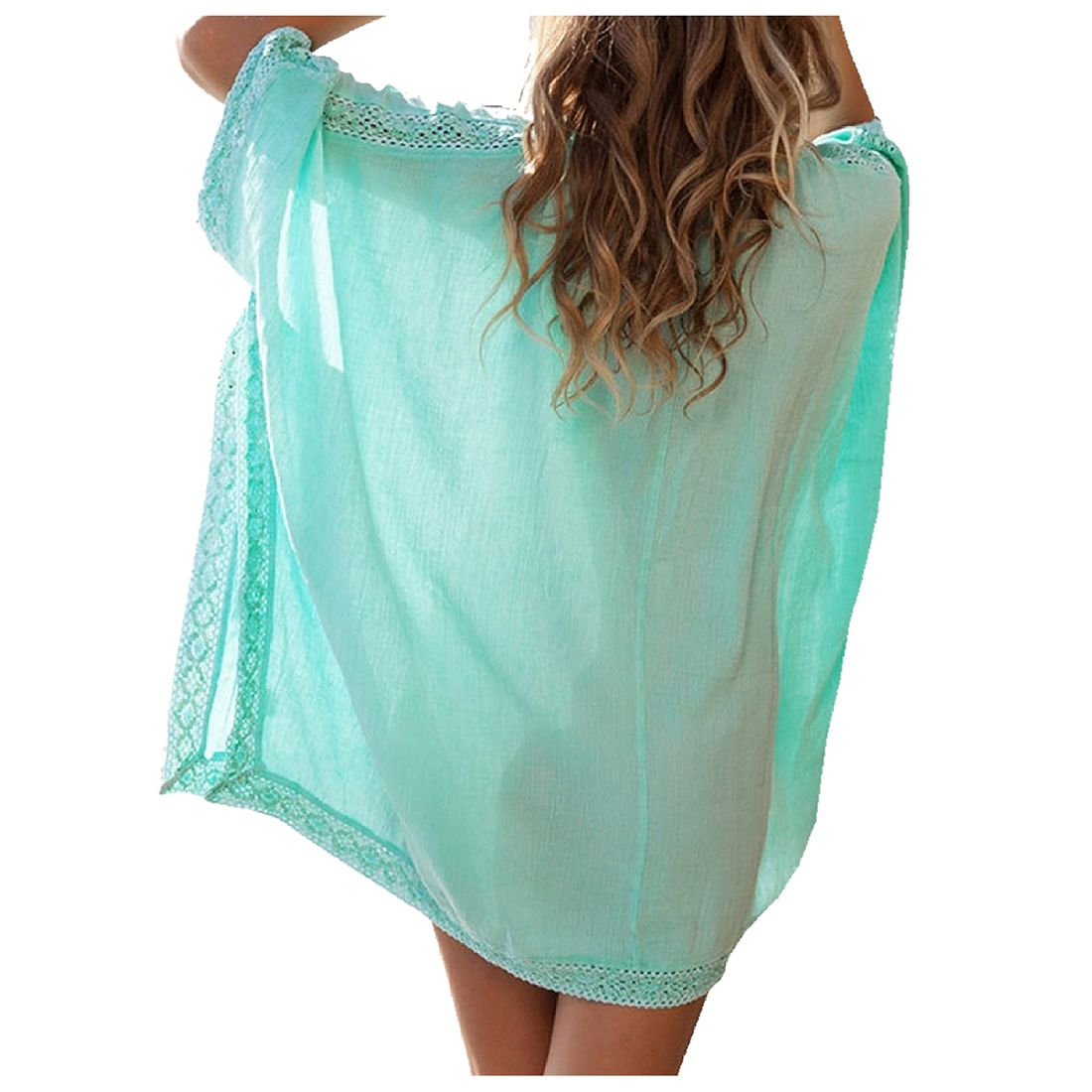Womens Solid Oversized Beach Cover Up Swimsuit Bathing Suit Beach Dress, Green