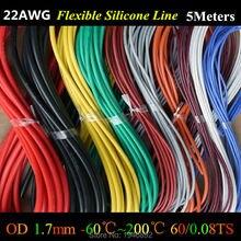 Lot de fils de fil de Silicone Flexible, 22 AWG, câble RC, 60/0, 08ts OD, 1.7mm, en cuivre étamé, 10 couleurs au choix, 5 mètres par lot