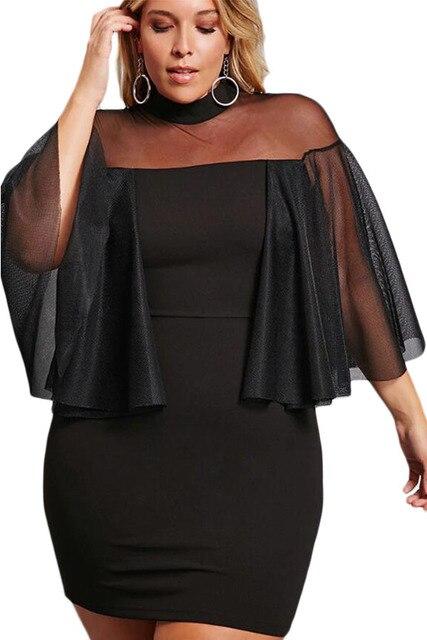 Women Bodycon Flare Sleeve Dress Plus Size Womens Night Party Sexy Mesh  Black White Half-Sleeve Semi Sheer Dress Vestidos mujer 2fc34c6a3066