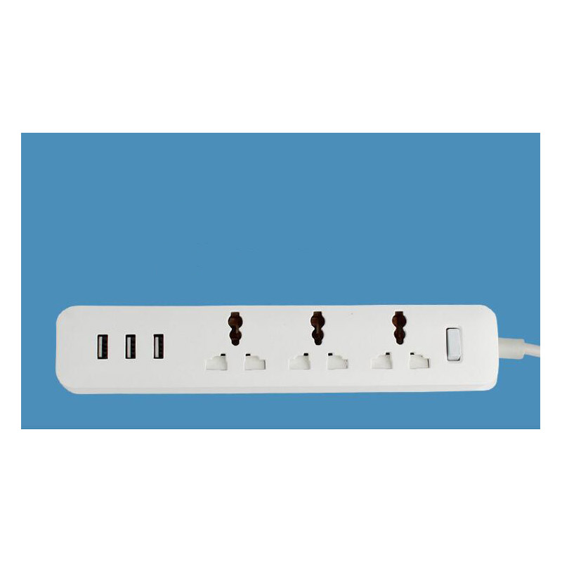 3-Outlet Power Strip Cord Adapter with 3 USB Charging Ports Home/Office/Travel Surge Protector Lightningproof