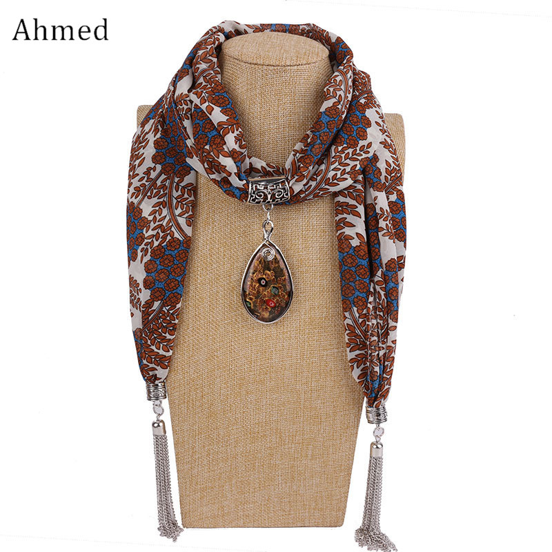 купить Ahmed Fashion Printed Resin Pendant Chiffon Tassel Scarf Necklaces For Women New Ethnic Maxi Collar Choker Necklace jewelry недорого