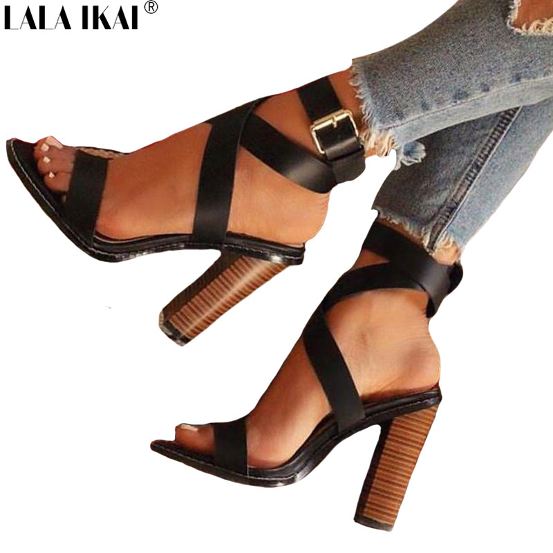 LALA IKAI Summer Women Sandals Buckle Strap High Heeled Sandals PU Leather Sexy Gladiator Party Ladies Sandals XWC1863-5 fashion sexy women summer sandals gladiator black red solid sandals buckle strap nubuck leather thick heel sandals us size 5 9