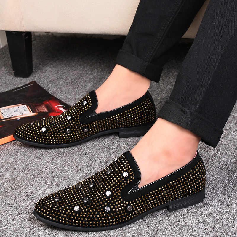 Mocasines de terciopelo de hombre de cristal de brillo hechos a mano Zapatos de vestir de lujo de diamantes de imitación Noble para Hombre Zapatos de boda