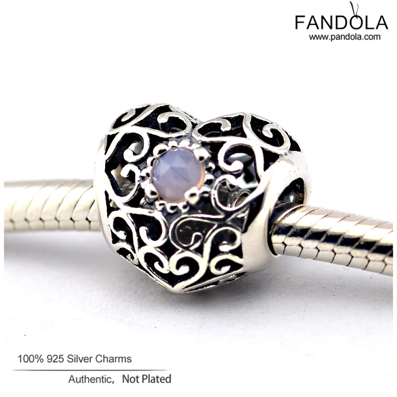 463fa0468 May Birthstone November Signature Heart Birthstone Charms Fits Pandora  Charms Bracelets DIY Rubies Crystal Beads 925 Sterling Silver .