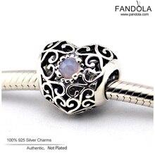 Noviembre firma del corazón piedra natal Charms adapta Pandora Charms pulseras DIY Rubies Crystal Beads 925 Sterling joyería de plata