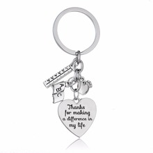 Teacher's Day Gifts Love Heart Apple Ruler ABC Book Charms T