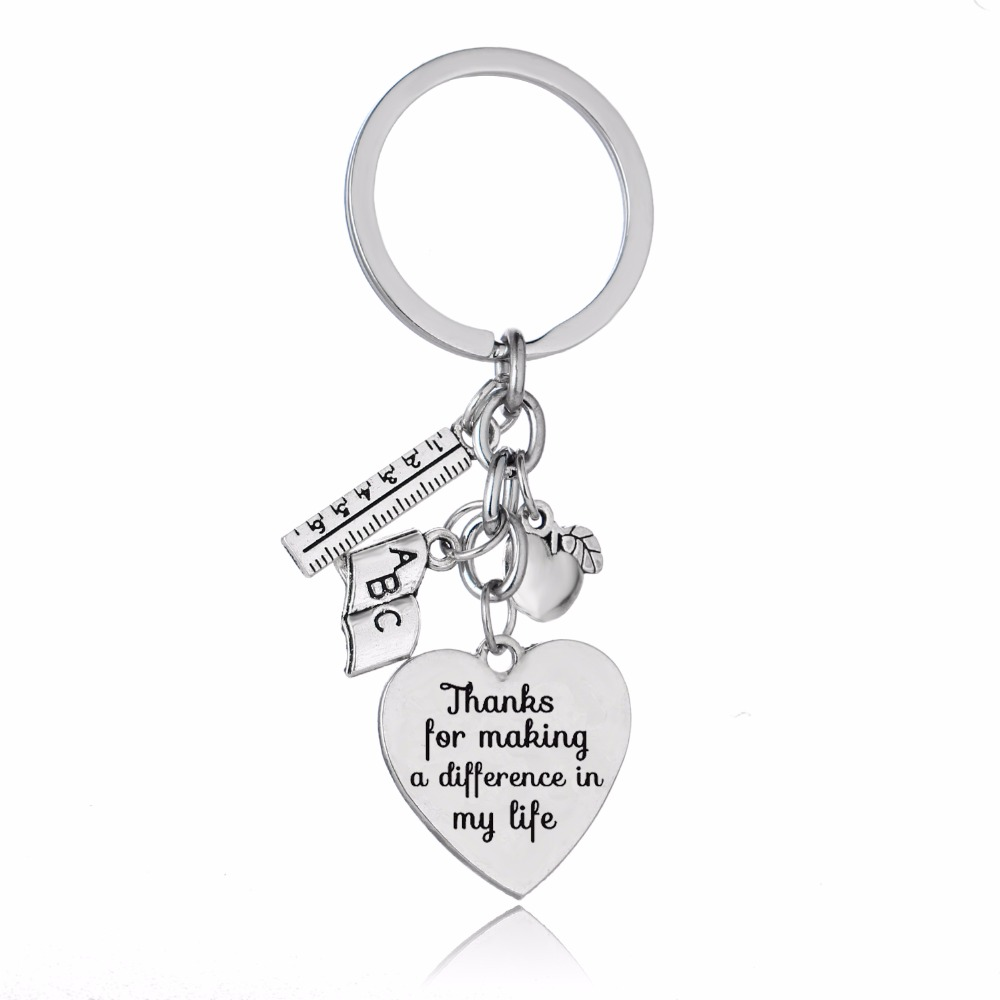 Teacher's Day Gifts Love Heart Apple Ruler ABC Book Charms Teachers Keychain Thanks For Making A Difference In My Life Keyring image