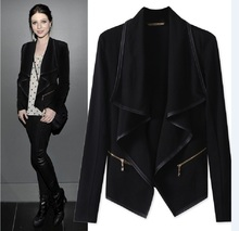 Fashion women s clothing black Autumn Clothing Pattern Show Thin Thin Section Suit Cardigan Irregular Loose