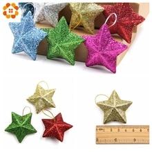 6PCS/Lot 5CM DIY Gillter Stars Christmas Pendant Ornaments DIY Craft  Kids Gift Xmas Tree Ornament Christmas Party Decorations