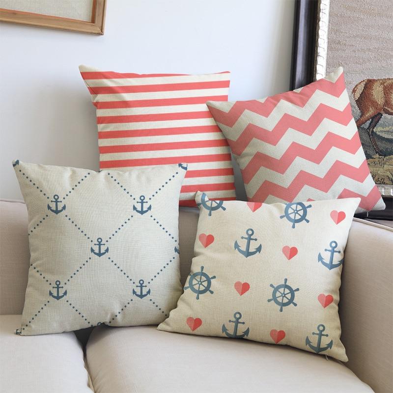 Estilo marino estilo mar tejido azul rosado navegación Funda de - Textiles para el hogar - foto 2