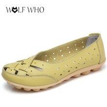 WolfWho Новый Плюс Размер 35-44 Женская Обувь Балета Лето Slipony Натуральная Кожа Мать Обувь Полые Loafer Мокасины Балета квартиры