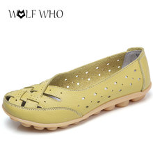 WolfWho New Plus Size 35-44 Women Shoes Ballet Summer Slipony Genuine Leather Mother Shoes Hollow Loafer Moccasins Ballet Flats