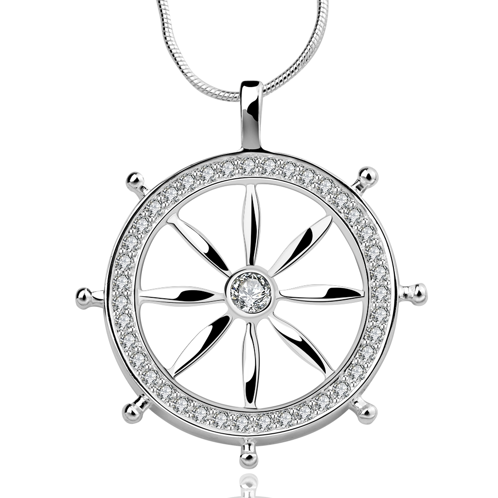 2017 New Popular High-end Jewelry Retro Silver Rudder Ships Boats Wheel Pendant silver plated 925 Best Friends Gifts For Women