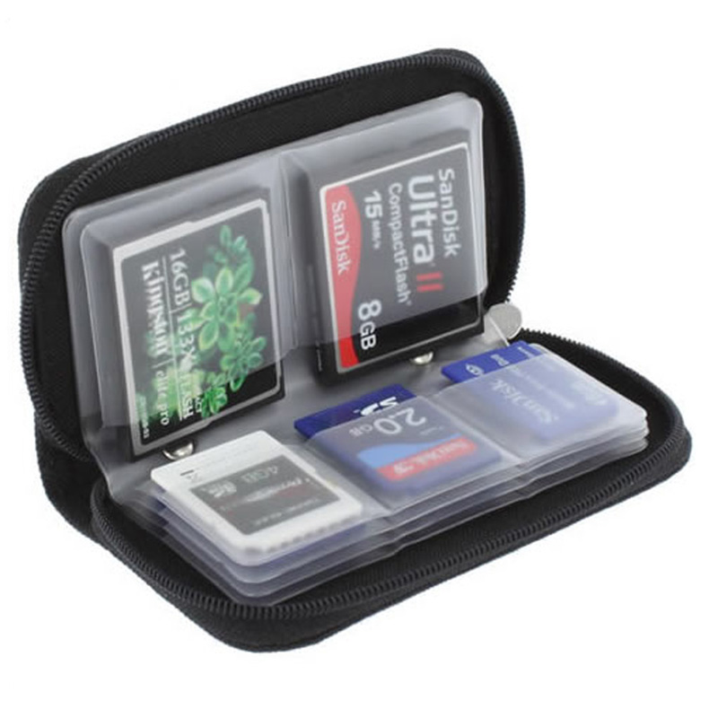 Black Memory Card Storage Carrying Case Holder Wallet 18slots + 4 slots For CF/SD/SDHC/MS/DS 3DS Game accessory uwinka mc u6c multi in 1 water resistance shockproof memory card storage box red