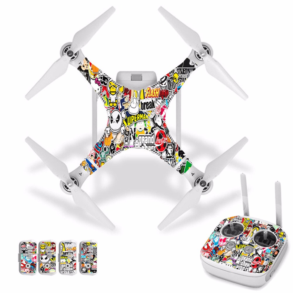 [J30015] Cartoon Graffit Waterproof PVC Decal Skin Sticker For DJI Phantom 3 Drone Body Protection Film+remote Controller Cover