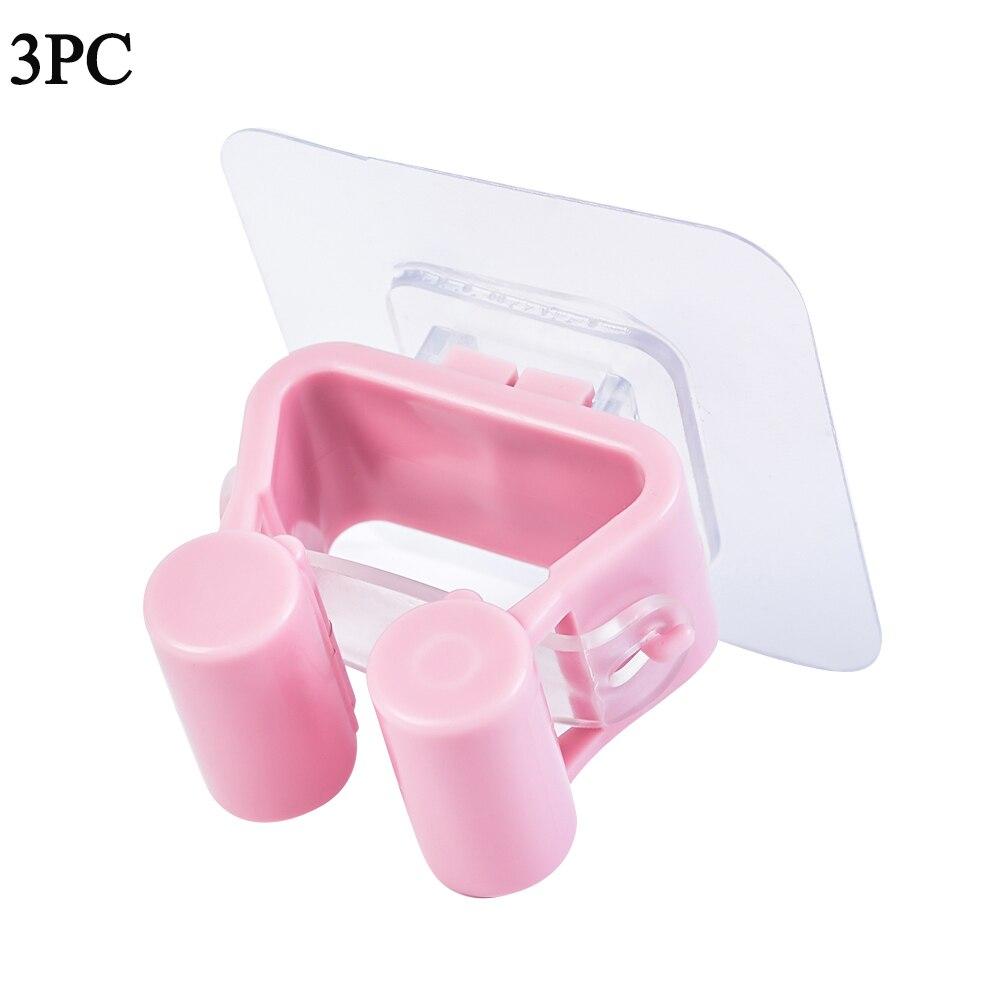 Настенный держатель для швабры, органайзер, кухонный клей, настенный держатель для швабры, держатель для хранения, метла, вешалка, зажим для швабры, крючок, стойки - Цвет: pink 3pc