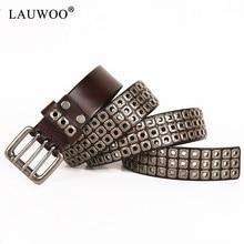LAUWOO Heavy Metal Cowboy Punk cinturón de cuero genuino cinturones de Hip  Hop para hombres Cruz Rivet Jeans Correa masculina Ce. 022ddf099d43