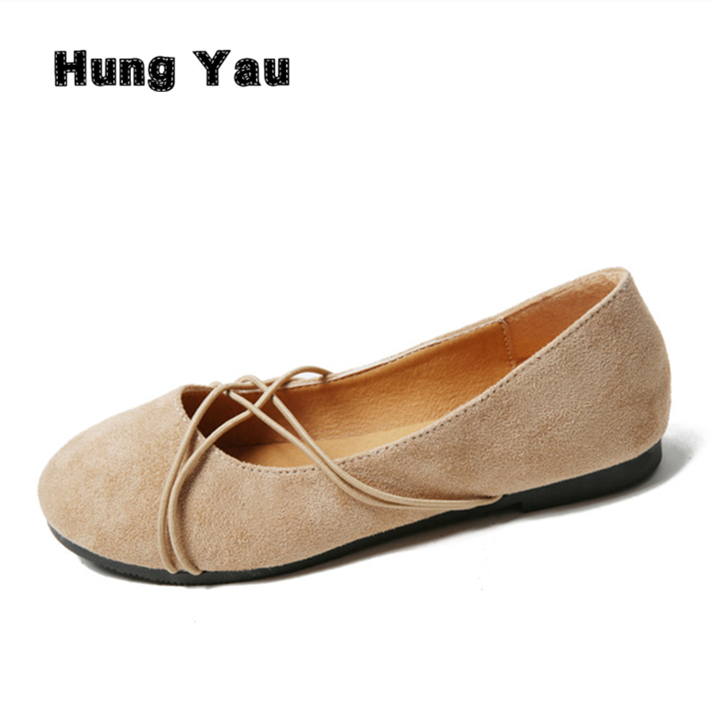 Hung Yau Women Loafers Soft Breathable Slip On Flats Shoes Woman Solid Casual Ladies Ballet Shoes Fashion Mother Shoes Size 8 summer slip ons 45 46 9 women shoes for dancing pointed toe flats ballet ladies loafers soft sole low top gold silver black pink