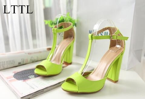 ФОТО Summer Dress Solid Yellow/White Block High Heel Basic Women Shoe Buckle Strap Ankle Wrap Elegant Sandal Free Ship Zapatos Mujer