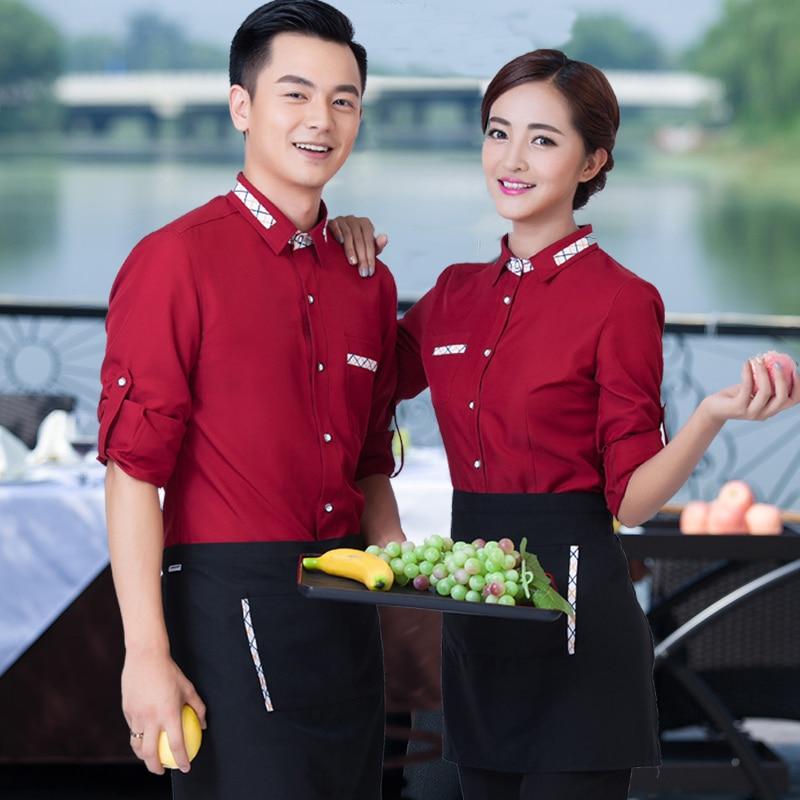 Hôtel serveur Service à manches longues automne hiver femme Restaurant personnalisé magasin café vêtements Hot Pot global vêtements de travail J318