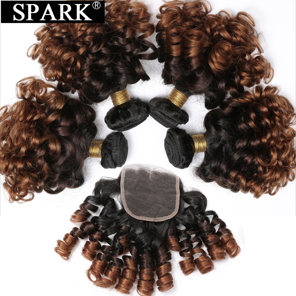 Spark Remy Hair Ombre Malaysia Bouncy Curly 3/4 Bundles with Closure Jerry Human Hair Bundles with Lace Closure T1B/4/30(China)